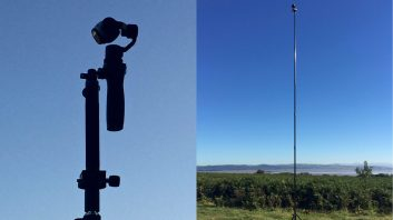 Aerial Artwork's Wi-Fi enabled DJI Osmo camera on top of Megamast tripod