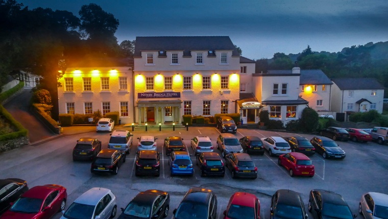 Late evening still from time-lapse sequence for promotional aerial video of hotel near Windermere in the Lake District, South Cumbria