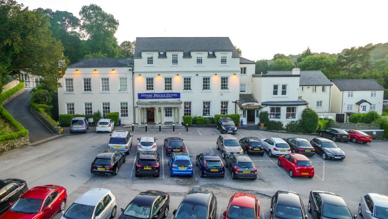 Early evening still from time-lapse for promotional aerial video of hotel near Windermere in the Lake District, South Cumbria