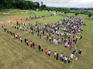 Waiting to start the Another Fine Fest world record attempt for largest pie fight, recorded officially by Aerial Artwork from a mast