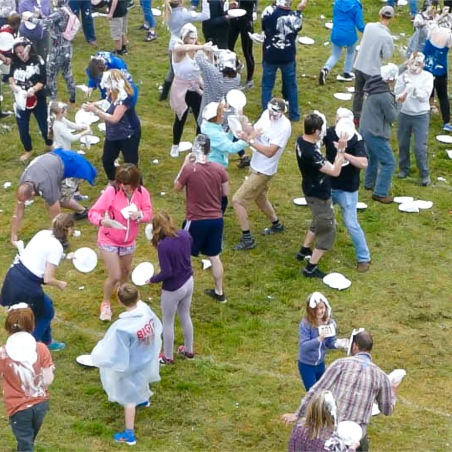 Another Fine Fest world record attempt for pie fight, recorded officially by Aerial Artwork