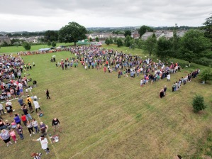 Another Fine Fest world record attempt for biggest pie fight, recorded from mast officially by Aerial Artwork