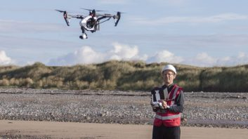 Colin Aldred in action, flying the DJI Inspire 1 drone with the remote controller