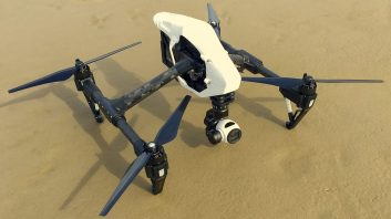 DJI Inspire 1 on the beach, ready for launch