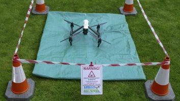 DJI Inspire 1 RPA cordoned off and ready for take off